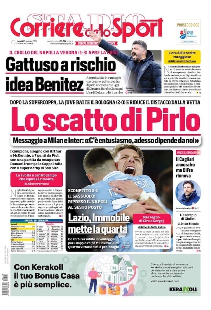 Волшебник Скудетто. Заголовки Gazzetta, TuttoSport и Corriere за 25 января