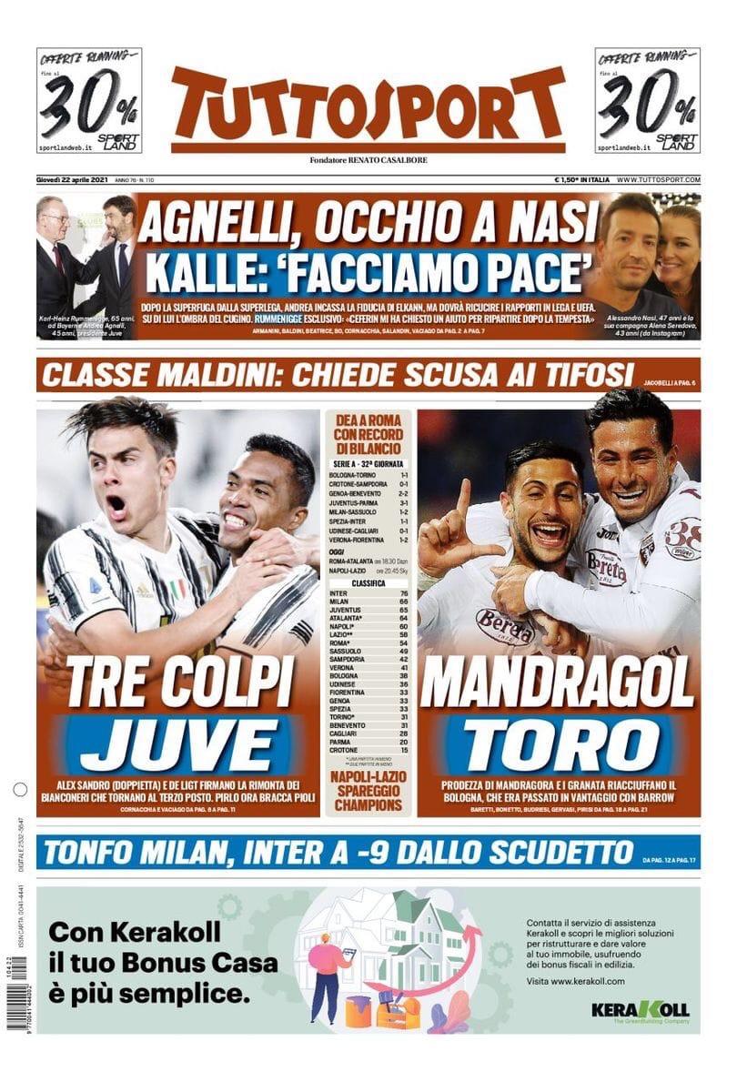 Выиграл другой «Юве». Заголовки Gazzetta, TuttoSport и Corriere за 22 апреля