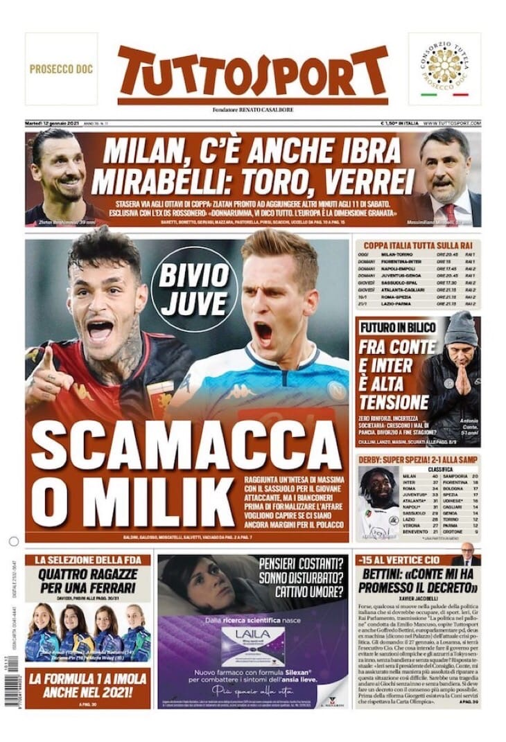 Скамакка или Милик. Заголовки Gazzetta, TuttoSport и Corriere за 12 января