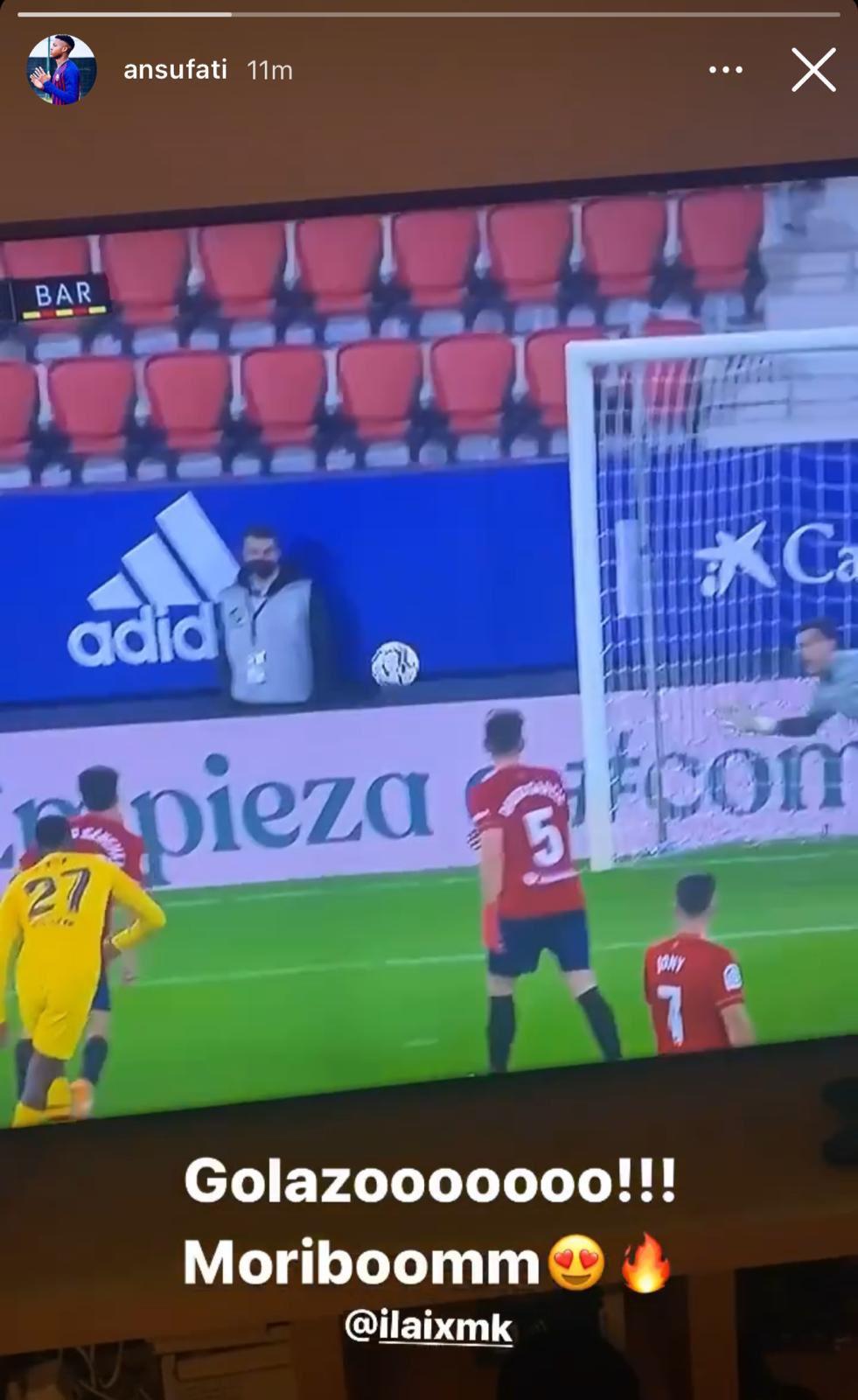 Илайш Мориба забил свой первый гол за «Барселону» на том же стадионе, на котором в первый раз отличился и Ансу Фати