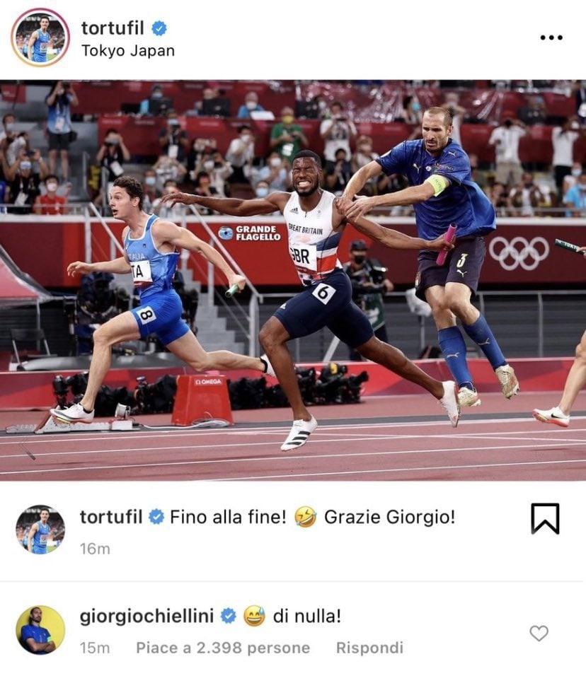 Легкоатлеты олимпийской сборной Италии поблагодарили Кьеллини в шуточной форме