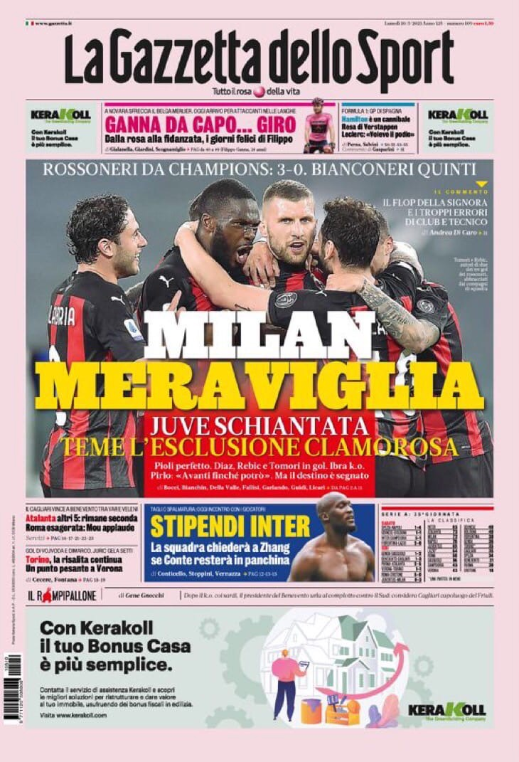 Удивительный «Милан». Заголовки Gazzetta, TuttoSport и Corriere за 10 мая