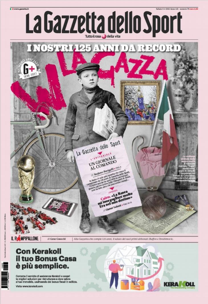 С решительным видом, жёсткий кулак. Заголовки Gazzetta, TuttoSport и Corriere за 3 апреля