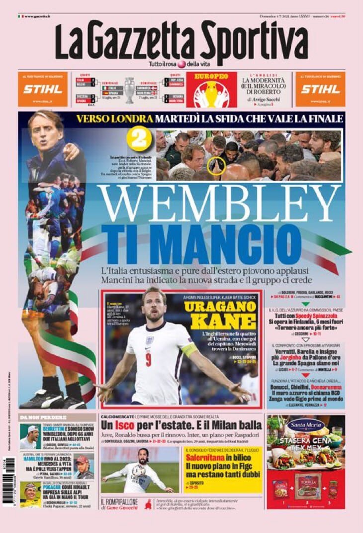 Вперёд, Спина! Заголовки Gazzetta, TuttoSport и Corriere за 4 июля