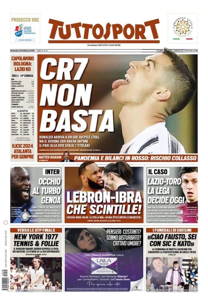 CR7 не хватило. Заголовки Gazzetta, TuttoSport и Corriere за 28 февраля