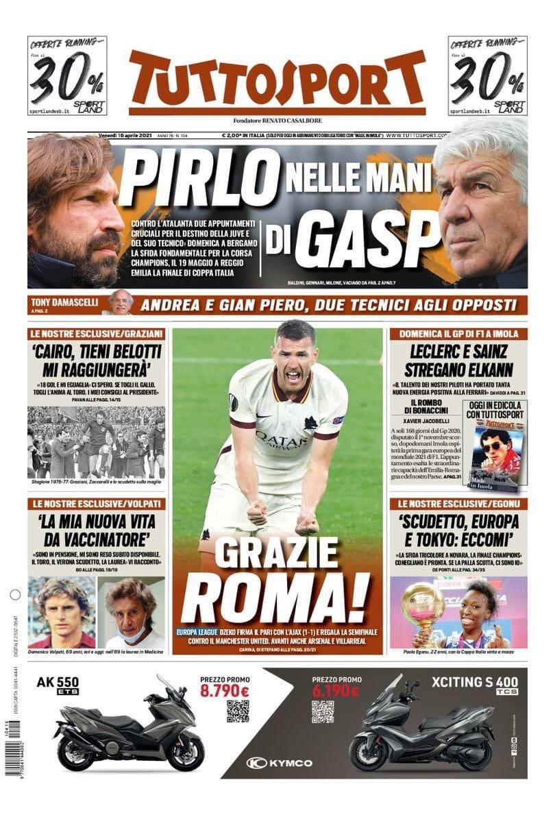 Мужество и Джеко, «Рома» мечтает. Заголовки Gazzetta, TuttoSport и Corriere за 16 апреля