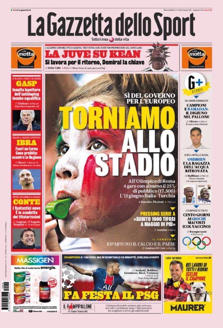 Возвращаемся на стадионы. Заголовки Gazzetta, TuttoSport и Corriere за 14 апреля