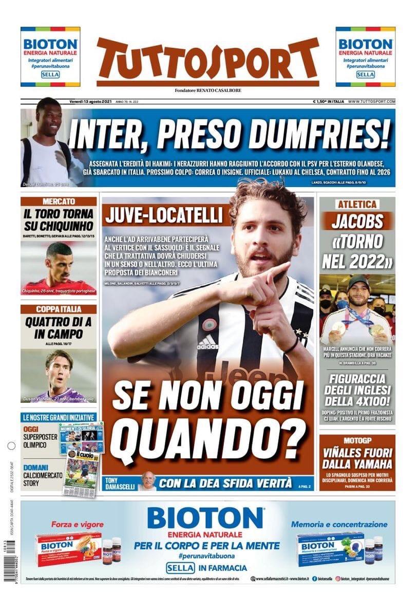«Интер» ставит стрелу. Заголовки Gazzetta, TuttoSport и Corriere за 13 августа