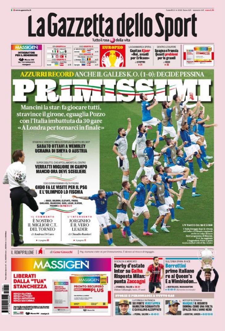 Неугомонные. Заголовки Gazzetta, TuttoSport и Corriere за 21 июня