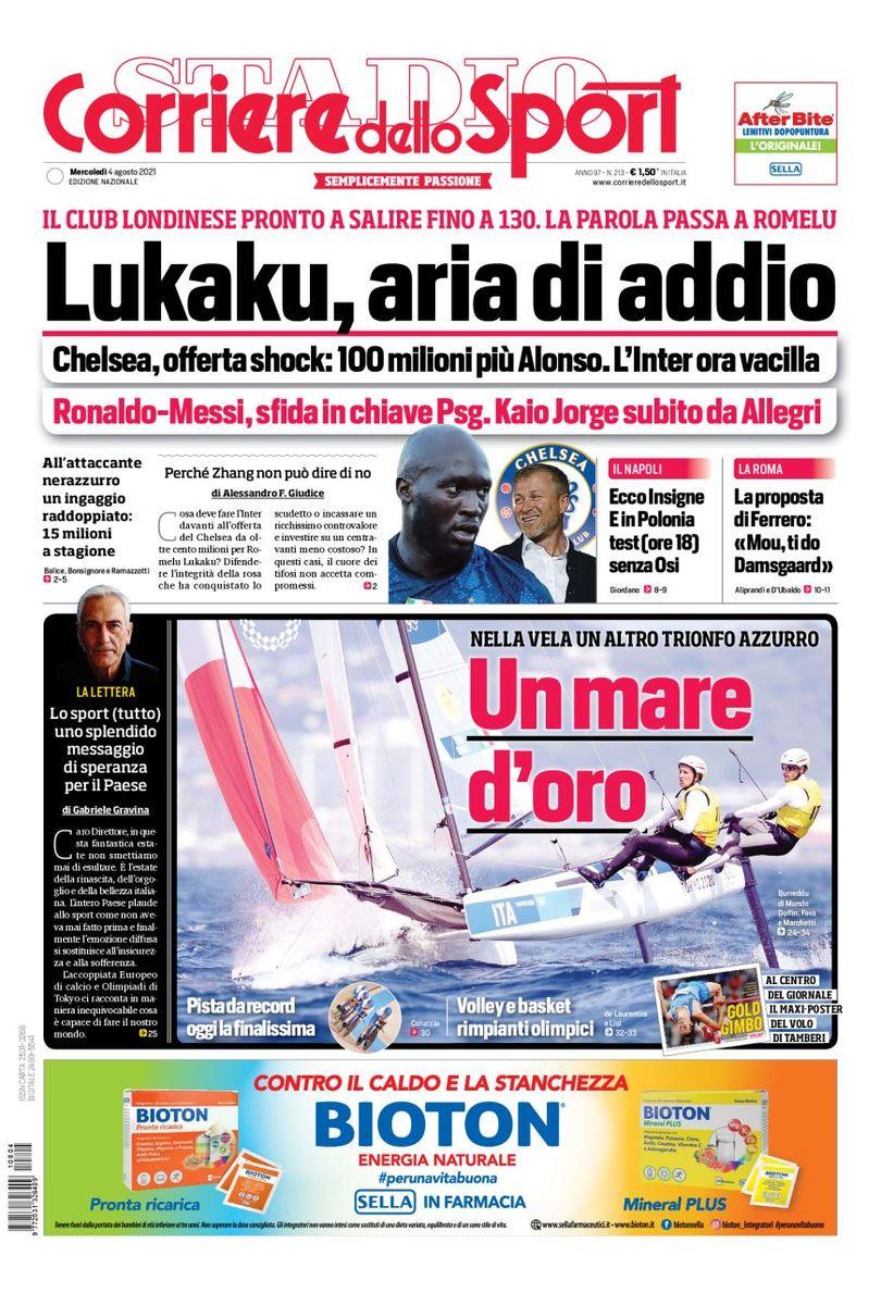 Лукаку, возможный уход. Заголовки Gazzetta, TuttoSport и Corriere за 4 августа