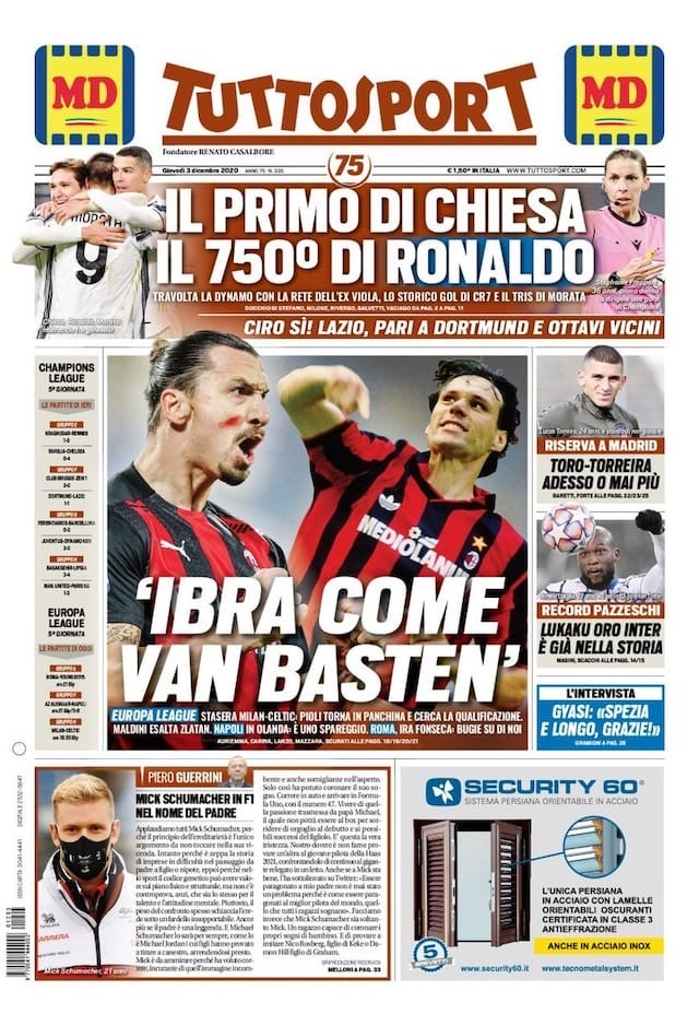 Освященный Кьеза. Заголовки Gazzetta, TuttoSport и Corriere за 3 декабря