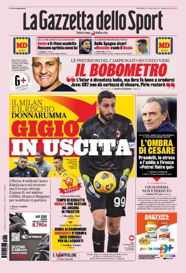 Меняются все. Заголовки Gazzetta, TuttoSport и Corriere за 24 марта