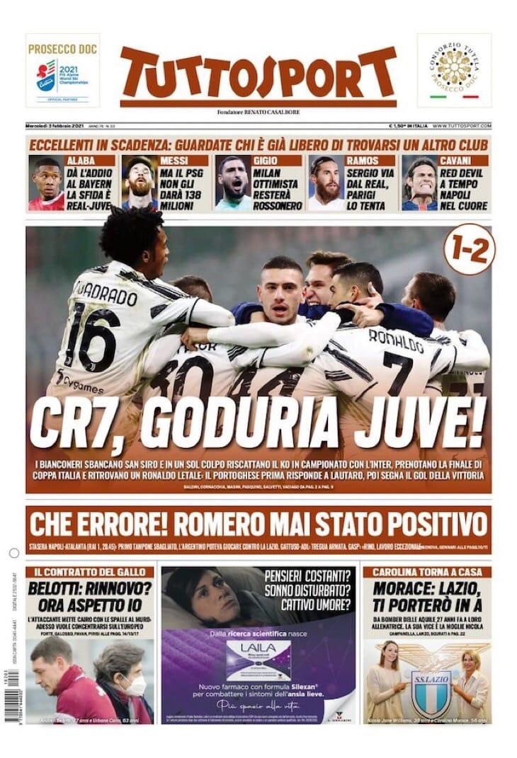 CR7, блаженство «Юве»! Заголовки Gazzetta, TuttoSport и Corriere за 3 февраля