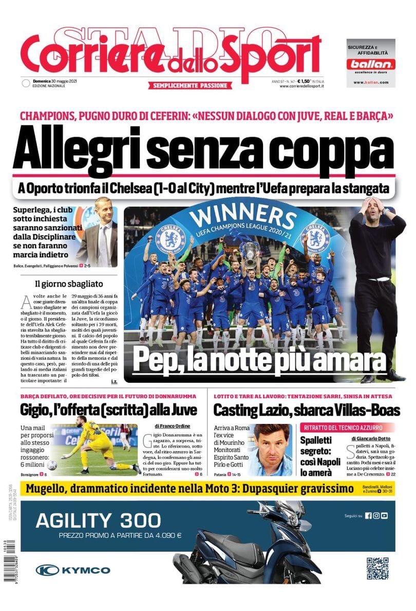Аллегри без еврокубков. Заголовки Gazzetta, TuttoSport и Corriere за 30 мая