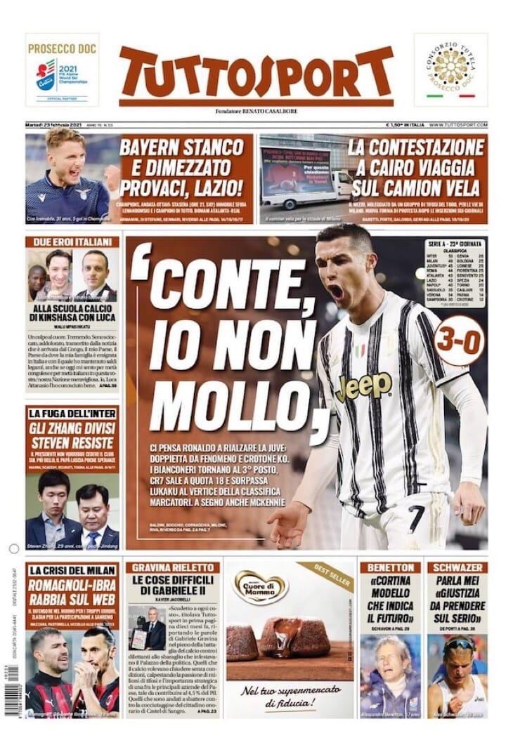 «Юве», об этом как всегда позаботится CR7. Заголовки Gazzetta, TuttoSport и Corriere за 23 февраля