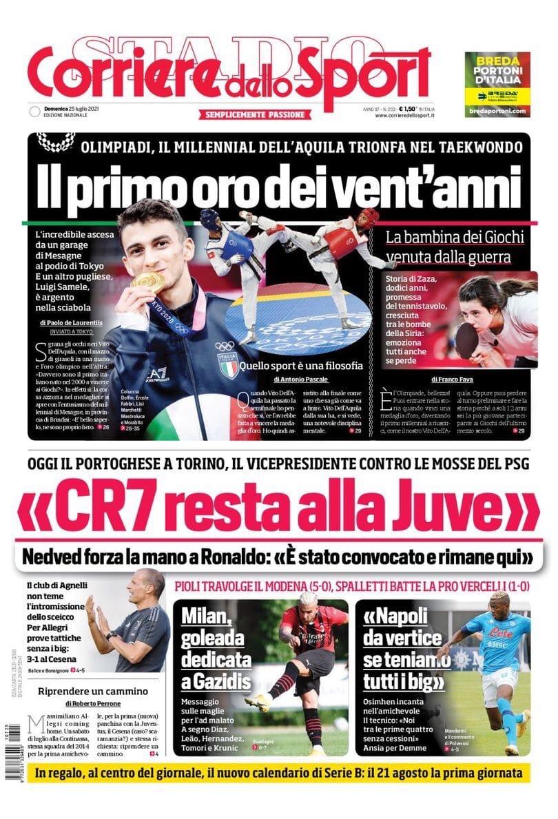 «CR7 останется в «Юве». Заголовки Gazzetta, TuttoSport и Corriere за 25 июля