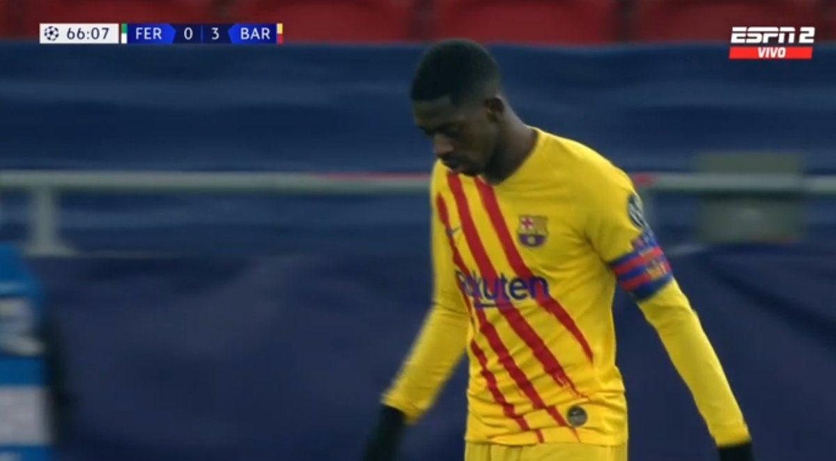 2020, остановись: Дембеле был капитаном «Барсы» в матче с «Ференцварошем»