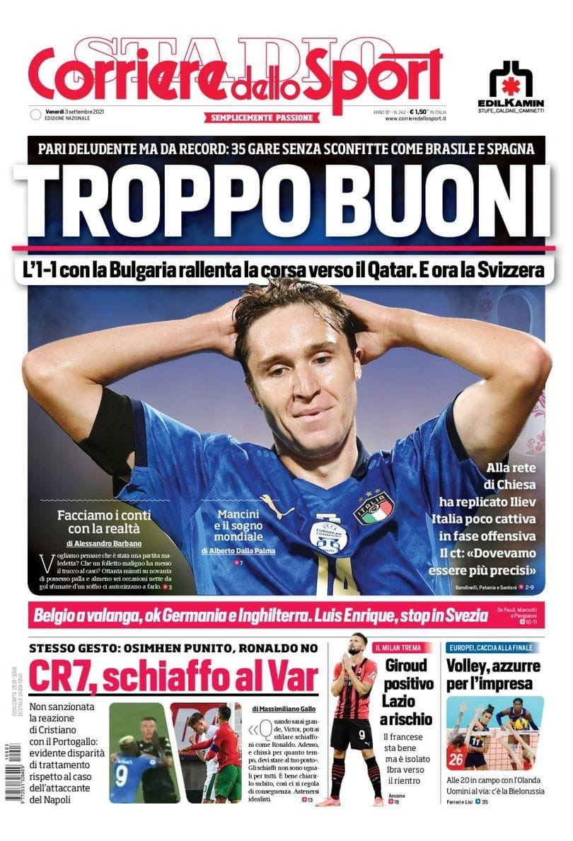 Слишком хороши. Заголовки Gazzetta, TuttoSport и Corriere за 3 сентября