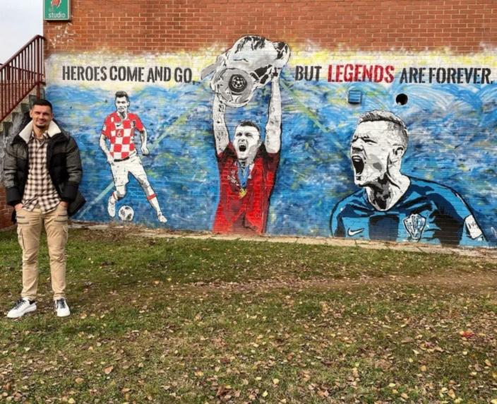 В честь Ловрена в Хорватии нарисовали граффити с кубком Лиги чемпионов