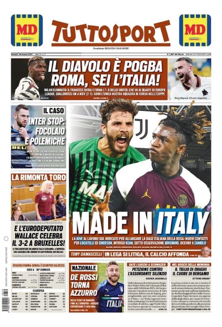 «Рома», Италия. Заголовки Gazzetta, TuttoSport и Corriere за 19 марта