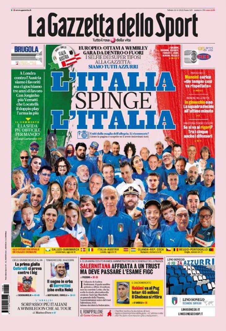 Мы хотим опять вот так! Заголовки Gazzetta, TuttoSport и Corriere за 26 июня