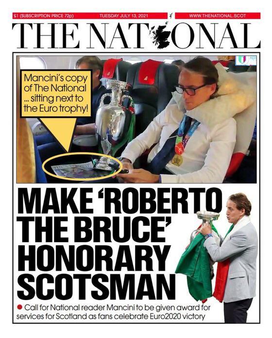 Шотландцы в восторге от Манчини: одно из крупнейших изданий страны два раза поместило его на обложку газеты. Все из-за победы над англичанами