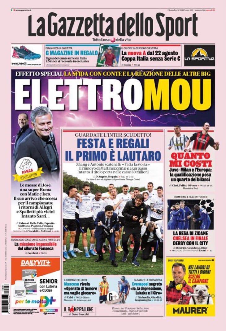 Ураган Маура. Заголовки Gazzetta, TuttoSport и Corriere за 6 мая