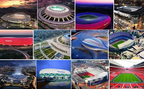 Стадион Первого Мая, Арена дас Дунас, Оранж Велодром, Амазония, стадионы, Пекинский национальный стадион, Альянц-Арена, Мунхак, Маракана, Соккер Сити