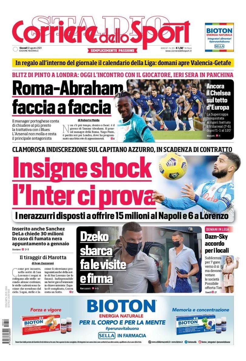 Инсинье шокирует, «Интер» пытается его заполучить. Заголовки Gazzetta, TuttoSport и Corriere за 12 августа