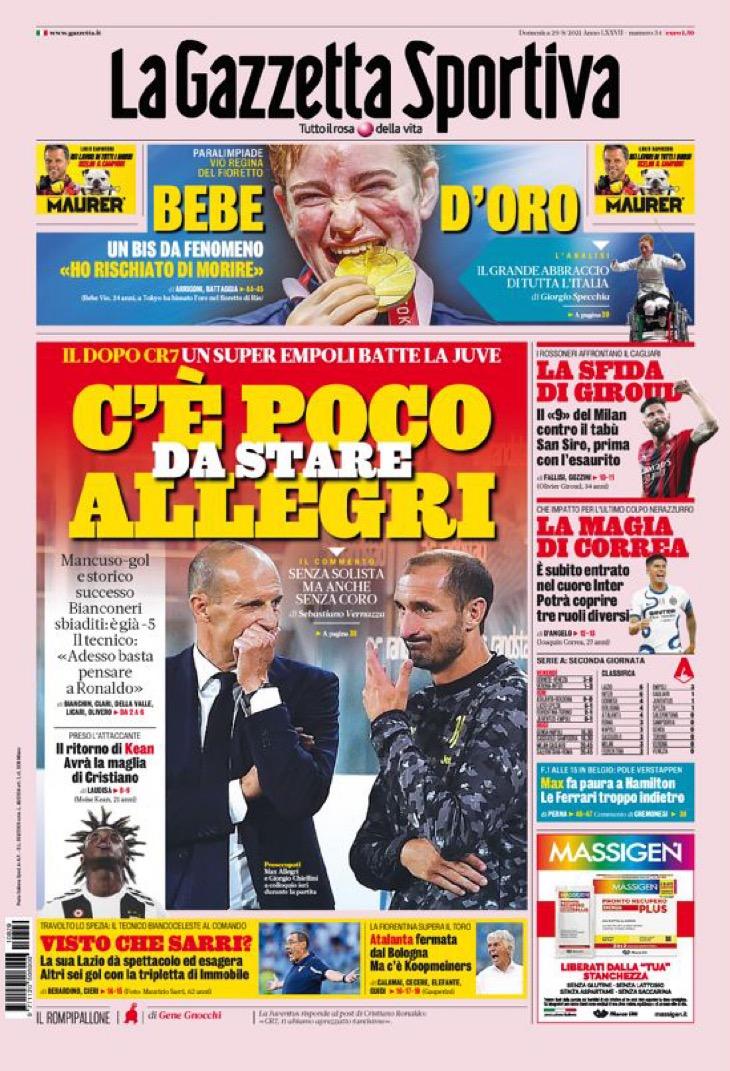 Мало быть Аллегри. Заголовки Gazzetta, TuttoSport и Corriere за 29 августа