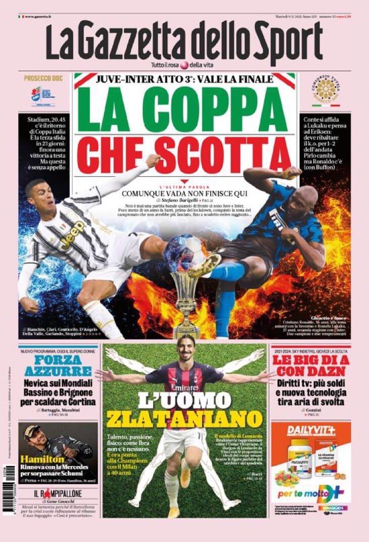 «Юве»-«Интер», Супербоул Италии. Заголовки Gazzetta, TuttoSport и Corriere за 9 февраля