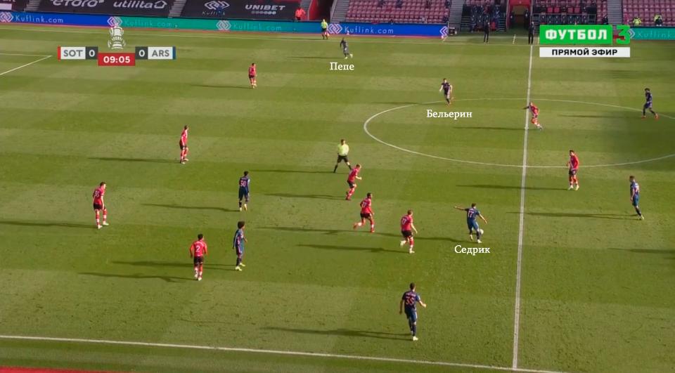 «Арсенал» с трудом проходил прессинг «Саутгемптона» и вылетел из Кубка