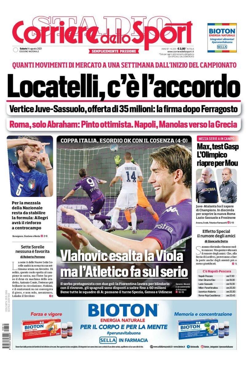 День Дибалы. Заголовки Gazzetta, TuttoSport и Corriere за 14 августа