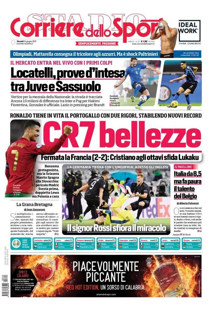 Красота CR7. Заголовки Gazzetta, TuttoSport и Corriere за 24 июня