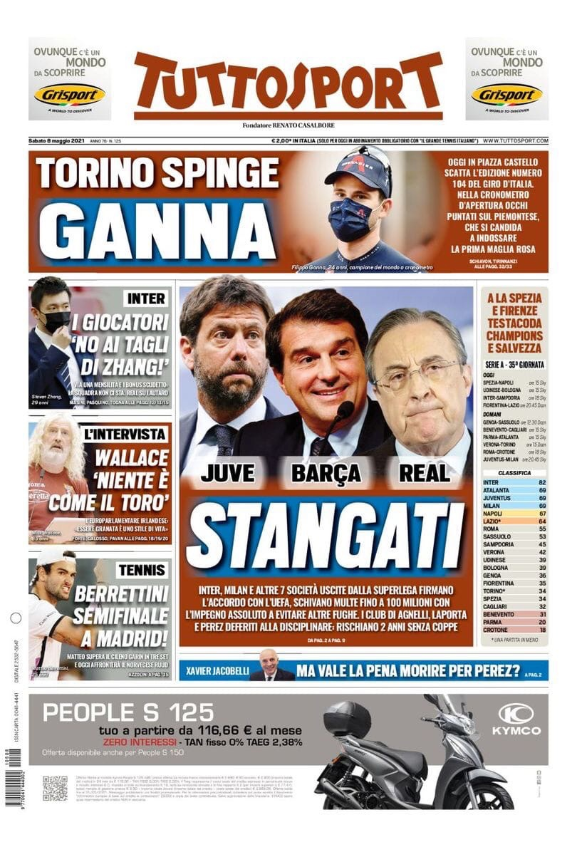Ультиматум для «Юве». Заголовки Gazzetta, TuttoSport и Corriere за 8 мая