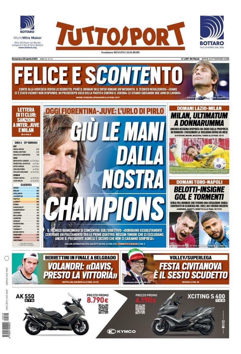 Конте направлен на цель. Заголовки Gazzetta, TuttoSport и Corriere за 25 апреля
