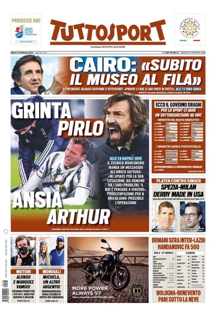 Риск Гаттузо. Заголовки Gazzetta, TuttoSport и Corriere за 13 февраля
