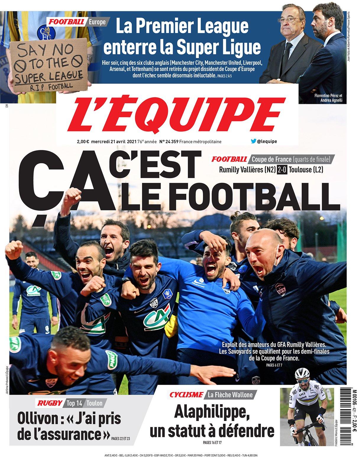 «Это футбол!» Любительский клуб с 5 профессионалами вышел в полуфинал Кубка Франции, а L'Equipe троллит Суперлигу