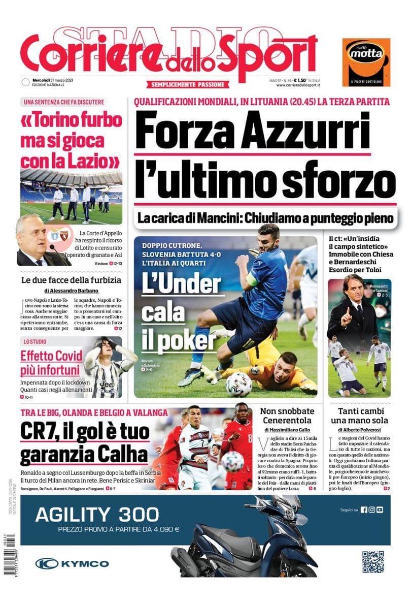 Вперёд, Адзурри, последнее усилие. Заголовки Gazzetta, TuttoSport и Corriere за 31 марта