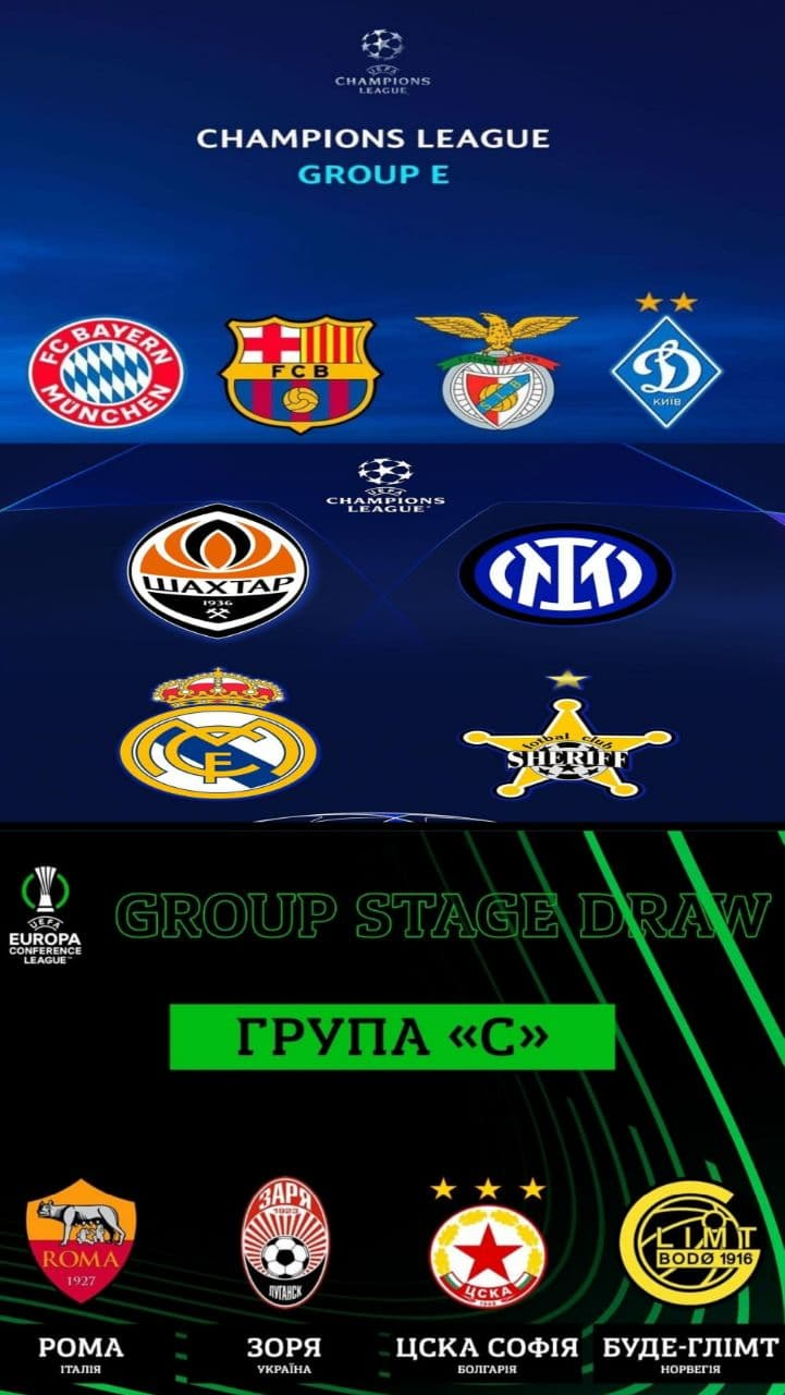 Заря, Лига Конференций УЕФА, Юрий Вернидуб, Бенфика, Интер, Бавария, Роман Яремчук, Шериф, Рома, Реал Мадрид, Барселона