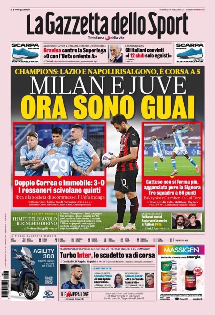 «Милан» и «Юве» теперь в беде. Заголовки Gazzetta, TuttoSport и Corriere за 27 апреля