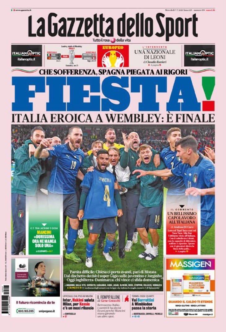 Каковы львы! Заголовки Gazzetta, TuttoSport и Corriere за 7 июля