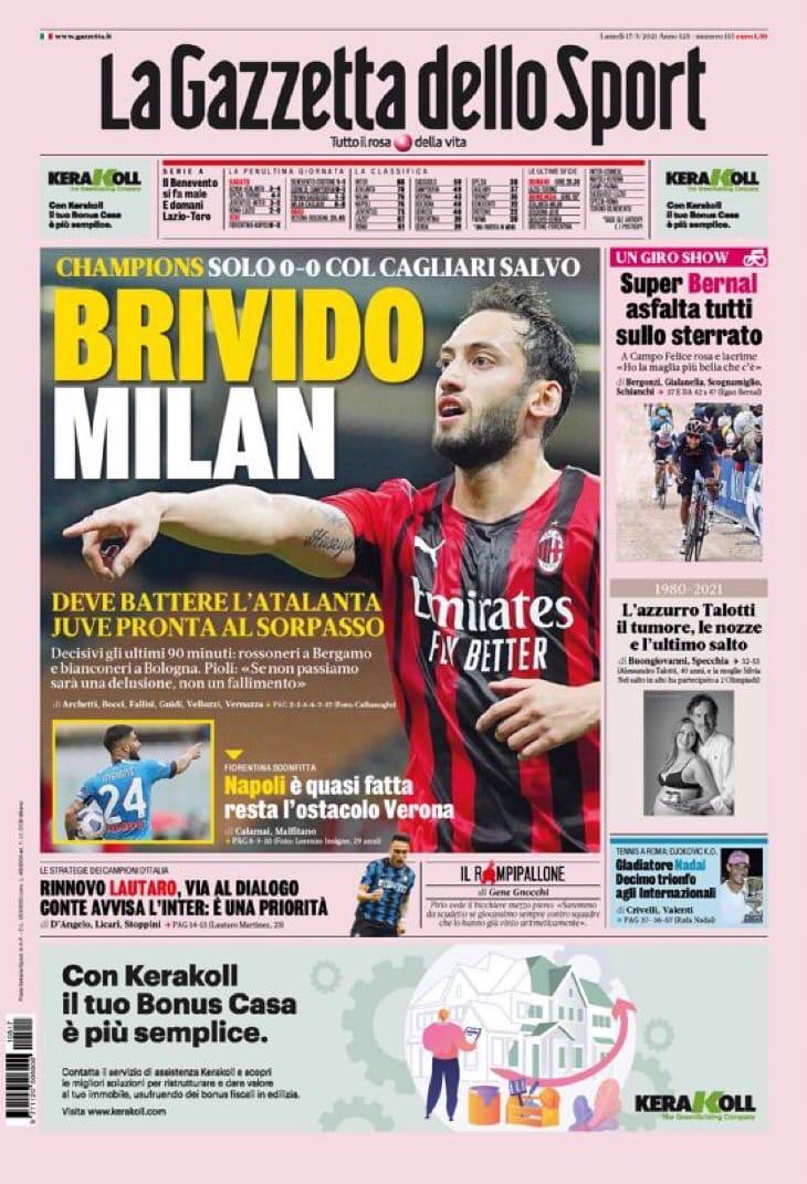 Остановка «Милана». «Юве», верь! Заголовки Gazzetta, TuttoSport и Corriere за 17 мая