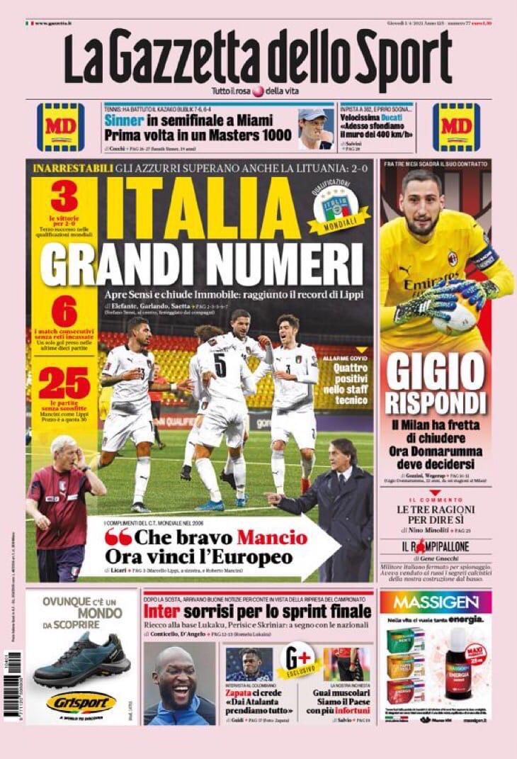 Италия, отличная статистика. Заголовки Gazzetta, TuttoSport и Corriere за 1 апреля