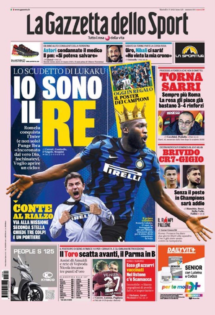 Призыв к Конте. Заголовки Gazzetta, TuttoSport и Corriere за 4 мая
