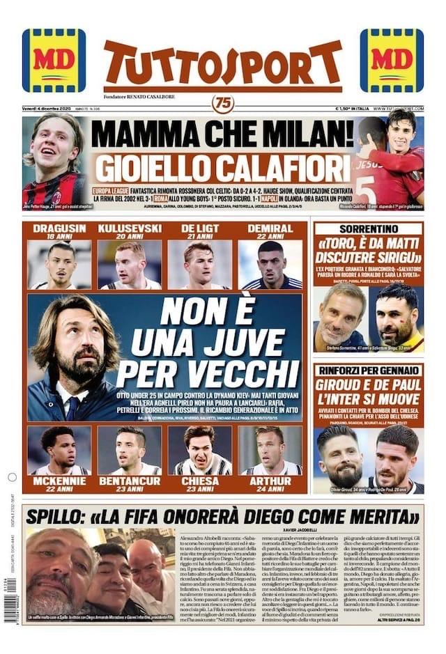 Дьявол вчетвером. Заголовки Gazzetta, TuttoSport и Corriere за 4 декабря