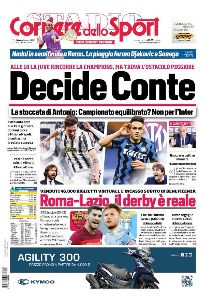 Решает Конте. Заголовки Gazzetta, TuttoSport и Corriere за 15 мая