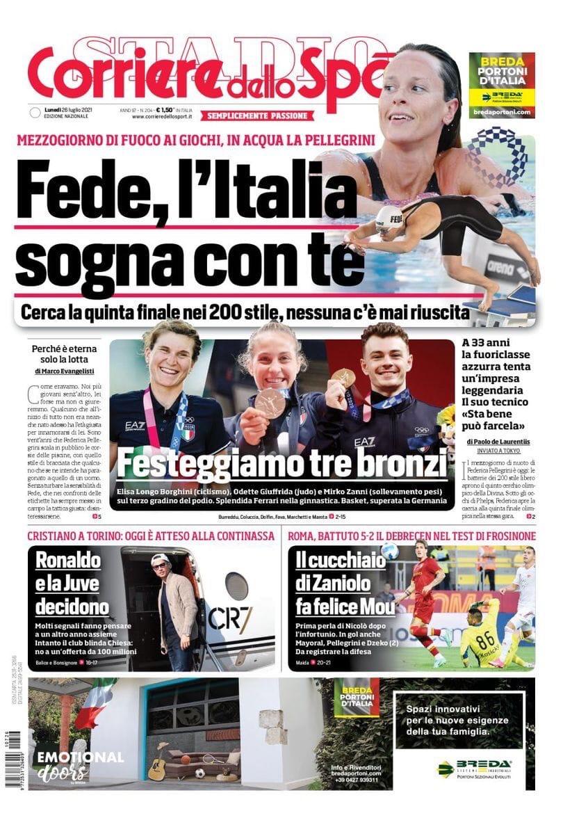 Вот и мы! Заголовки Gazzetta, TuttoSport и Corriere за 26 июля
