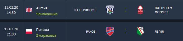 высшая лига Польша, Ракув, чемпионшип, Ноттингем Форест, Легия, Вест Бромвич
