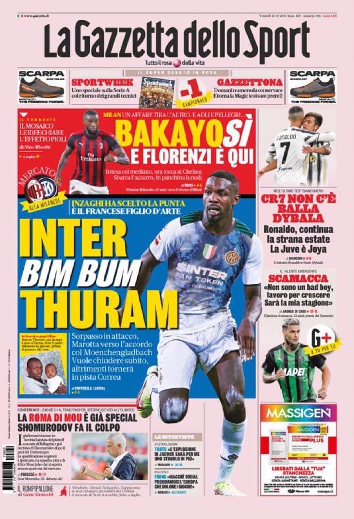 В атаку! Заголовки Gazzetta, TuttoSport и Corriere за 20 августа